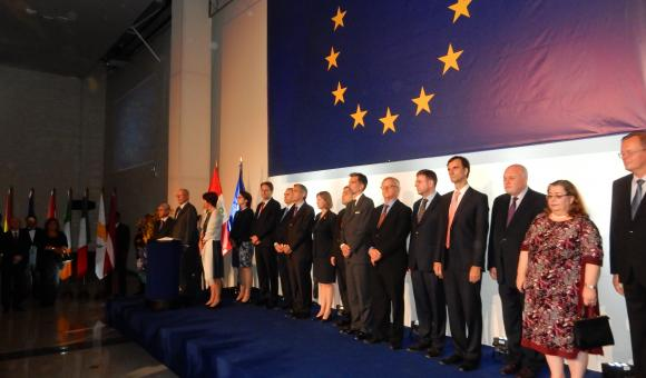 The President of the Republic of Peru, Mr Pedro Pablo Kuczynski and his wife, the Ambassador of the Permanent Delegation of the European Union to Peru, the Ambassadors of European Member States