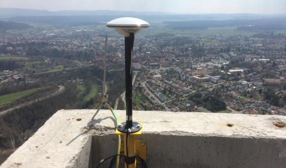 GNSS monitoring station at the top of the Rottweil tower