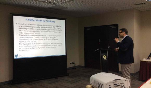 Mr. Carmelo Zaccone presents the digital plan for Walllonia in Taiwan.