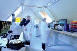Le laboratoire de Skylane où sont testés les boîtiers qui permettent de convertir un signal électrique en signal optique.